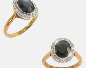 Ring Sapphire diamond Platinum/gold 18 k.