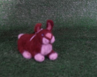 A Small Needle Felted Brown Rabbit