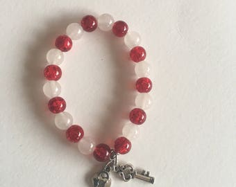 Red & White Quartz Bracelet with Charms