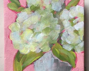 Hydrangeas 2, acrylic on 4x4 stretched canvas