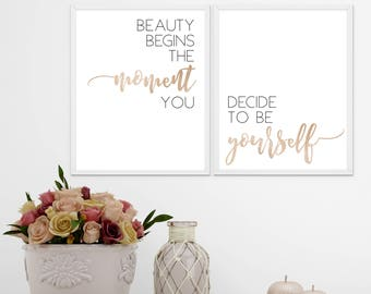 Beauty Quote Black and Gold Metallic Digital Print