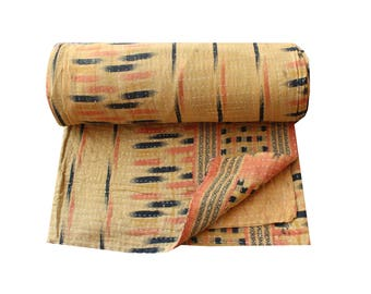Reversible Kantha Quilt Handmade Kantha Blanket Cotton Sari Patchwork Kantha Bedspread Twin Size Kantha Throw Kantha Bed Cover