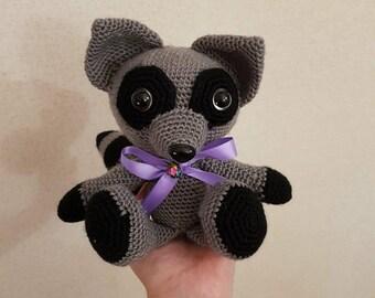Crochet Stuffed Handmade Raccoon Toy