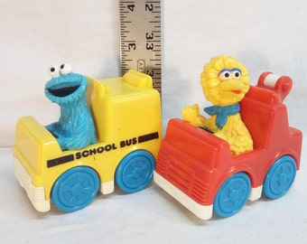 Vintage 1993 Tyco Sesame Street plastic cars lot: Cookie Monster school bus and Big Bird tow truck