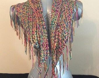 Rainbow Silk Gold Boho Shawl Chal