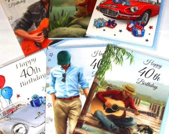 36 cards 40TH BIRTHDAY CARDS, 6 designs x 6, just 19p - We also have birthday cards / christmas cards / thank you cards