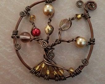 Bronze wire tree of life pendant