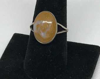 Vintage Taxco Sterling Silver 925 SC Eagle 3 and Mexican Moss Agate Ring MARKED