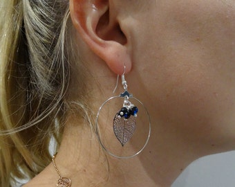 """""""Créole"""" earrings - earrings lightweight - dainty jewelry - handmade - swarovski pearls - gift women dark blue"""