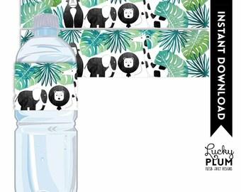 Jungle Water Bottle Label / Safari Water Bottle Label / Safari Napkin Ring / Animal Wild One Boho Boy Green Gold Printable SF04