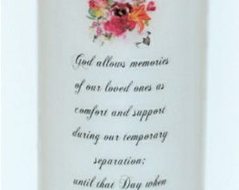 God allows memories of our loved one, sympathy or memorial candle pillar keepsake, candle design under the wax, personalized sympathy candle