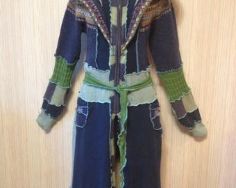 Fairy Coat Sweater HOODIE Katwise Inspired Festival Up-cycled Recycled Hippie Hood Wool Free Cotton Jacket OOAK size MED Ships out now!