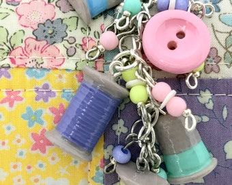 Charm Dangle for the Sewist | Floss | Thread Spool | Thimble | Button | Girl Gift | Chunky Charm | Scissor Keeper | Planner Accessory