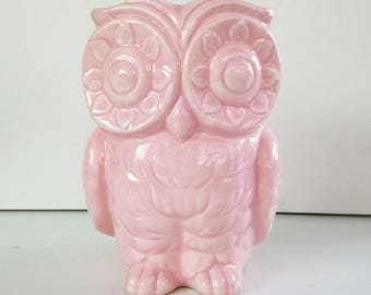 SECONDS SALE! Tiki Owl Vase. Owl Planter, Ceramic Vase, Vintage Design, Pencil Holder, Pink, Tiki Decor, Bar Swizzle Holder