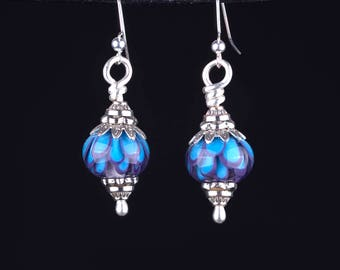 Blue Petal Drop Earrings