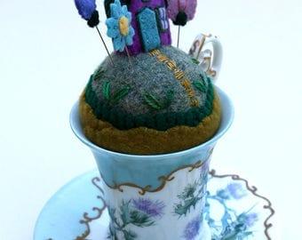 Pincushion Tiny World Fairy House on a Hill fantasy garden wool teacup