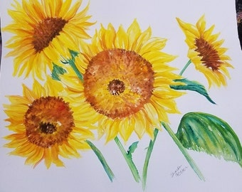 Sunflowers Watercolors Paintings Original 16 x 15  sunflowers painting, large sunflower wall art,  painting of sunflowers, FArmhouse decor