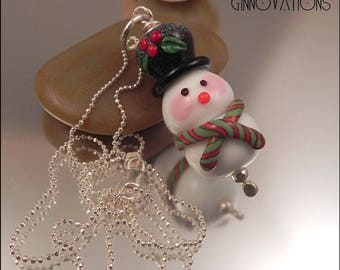 Ginnovations lampwork, Frosty Snowman pendant, optional sterling chain upgrade