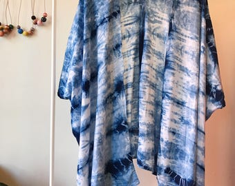 Ready to Ship, Drape Jacket in Ocean Tide, Hand Dyed with Indigo, Shibori,  Kimono Jacket, Rayon, Anna Joyce