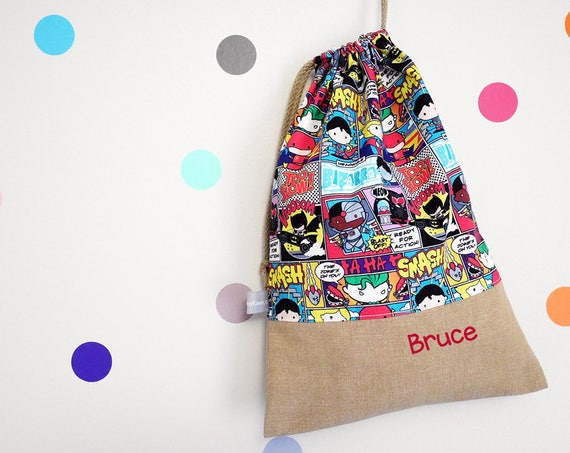 Customizable drawstring pouch - kindergarden - Super Heroes - Comics - Superman - Batman - Justice League - cuddly toy - slippers - toys