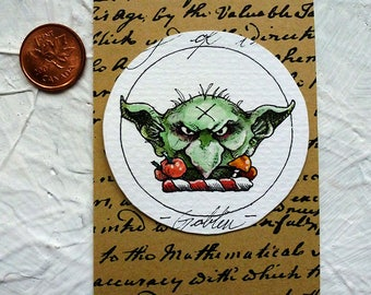 Goblin Watercolor Painting Original Miniature Drawlloween Art