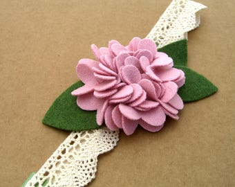 Baby Headband, Pink Hydrangea Headband, Pink Flower Headband, Felt Flower Headband, Felt Hair Accessories, Lace Headband, Childs Headband