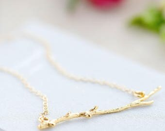 Branch Necklace, Branch Necklace Gift, Dainty Branch Necklace, Botanical Necklace, Nature Lover Necklace, Delicate Gold Layering Necklace
