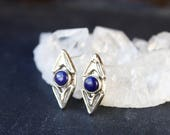 lapis earrings, sterling silver lapis jewelry, small silver studs, stamped silver post earrings, boho jewelry