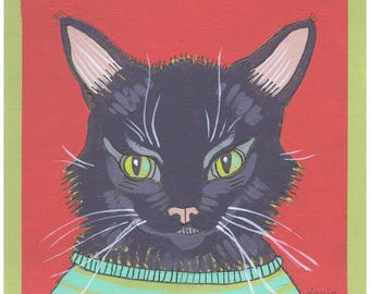 Black Cat - Small Acrylic/Grapthite painting on Paper