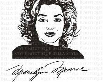 Marilyn Monroe Portrait and Signature VINYL DECAL
