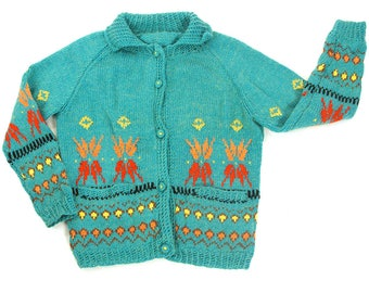 50s Cowichan Sweater / Vintage 1950s Hand Knit Turquoise Blanket Cardigan / Thick Button Up Soft Wool / Chunky Ethnic Hippie Boho