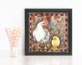 Original chicken art | mixed media collage | bird art | Hang Out With Eagles | canvas art | collage | red | country decor
