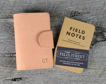 Handmade Natural Leather Memo Book Cover with Personalized Initials, Pen Holder, Card Slot - Field Notes, Moleskin, Journal, Notebook Case
