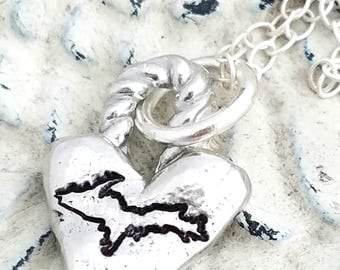 Michigan necklace UP heart necklace-Yooper necklace-Yooper gift-Yooper jewelry-Michigan necklace-Michigan jewelry