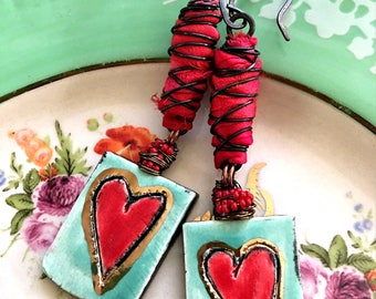 Heart, earrings, retro green, red, ceramic, fiber wrapped
