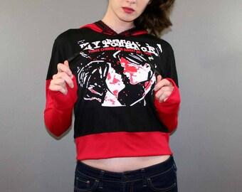 My Chemical Romance Cropped Hoodie Shirt Sweatshirt MCR Punk Emo Rock Pop Black Parade Band Merch Three Cheers For Sweet Revenge