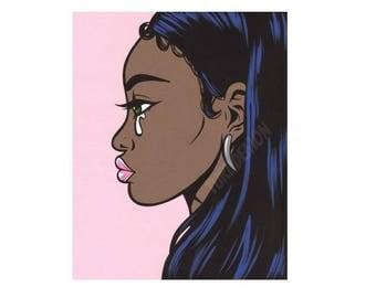 Pastel Pink Black Crying Girl Original Painting