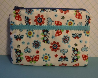 Butterflies - Zippered Pouch Bag - Tampon Holder - Zippered Pouch - Tampon Case - Toiletry Bag - Womens Toiletry Bag - Sanitary Pad Holder