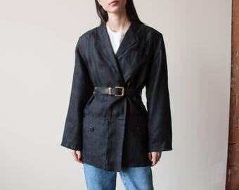 black woven silk boyfriend blazer / woven summer jacket / oversized minimalist blazer / s / 2376o