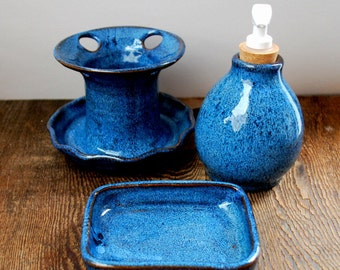 Cobalt Blue Bathroom Set Wheel Thrown Pottery Ready to Ship