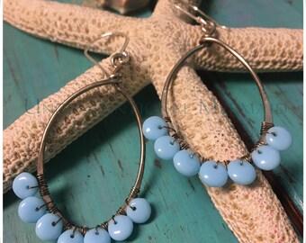Earrings, Beaded Earrings, Teardrop Earrings, Wire Wrap Earrings, Turquoise Earrings, Sterling Silver Earrings