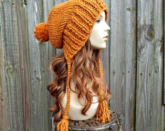 Apricot Orange Chunky Knit Hat Women Pom Pom Hat - Charlotte Slouchy Ear Flap Hat - Orange Beanie Orange Hat - READY TO SHIP