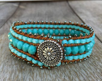 BoHo Beaded Leather Cuff Bracelet, Leather wrap bracelet