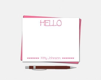 Personalized Hello Note Cards - Set of 10 - Flat Note Card - Heart Notecard - Gifts for Girls - Hello Note Card - Hello Note Cards for Girls