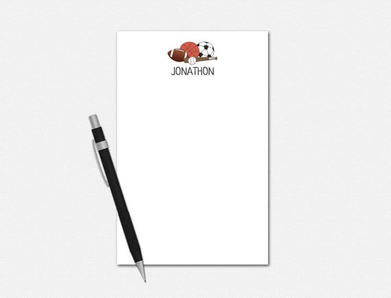 Personalized Sports Notepad - Sports Notepad - Personalized Notepad - Stationery for Men - Notepads for Boys - Custom Sports Balls Notepad