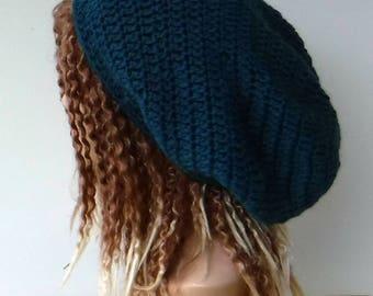 Teal Woman Man slouchy beanie/made with recycled Wool Mohair yarn/dread tam baggy slouchy beanie hat hippie dreads, dreadlock beanie hat