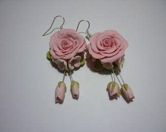 Roses with their buds  earrings