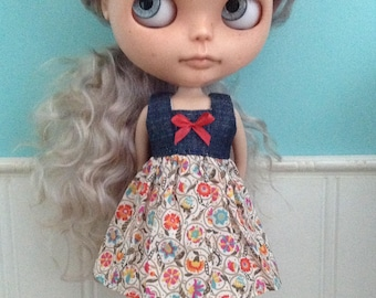 Dress for Blythe - Denim and Liberty Tana Lawn #4