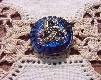 Midnight Blue Celtic Links Czech Glass Button