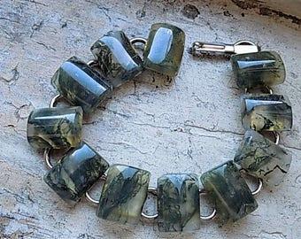 FREE SHIPPING Vintage Agate Stone Link Bracelet